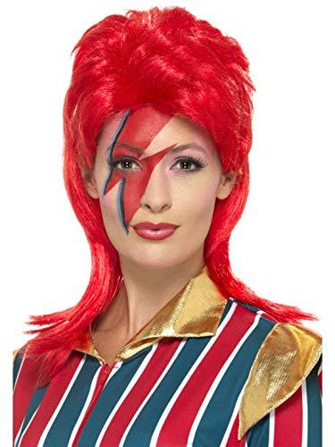 Luxuspiraten - Kostüm Accessoires Zubehör Space Superstar Perücke Wig, perfekt für Karneval, Fasching und Fastnacht, Rot