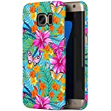 Tropical Hawaii Amaryllis Flower & Pink Butterfly Pattern Samsung Galaxy S7 EDGE Snap-On Hard Plastic Protective Shell Case Cover Coque Housse Etui