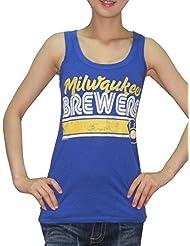 MLB Mujer Milwaukee Brewers deportivo de cuello redondo Camiseta de (Vintage), MLB, mujer, color azul, tamaño large