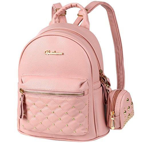 Vbiger Rucksack Damen PU Leder Elegant Rucksack Mädchen für Frauen Rosa (Rosa Rucksack Für Mädchen)