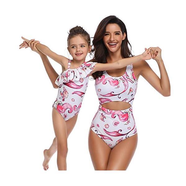 Costumi da Mare Madre e Figlia Moda Bikini Floreale Due Pezzi Boho Hippie Chic Tankini con Volant Uguale Abbigliamento… 3 spesavip