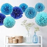 7 PCS Mixte Pompons en Papier de Soie, Boules Fleurs Papier DIY Décoration de Baby Shower Noce Mariage Fête Anniversaire Chamber – Bleu Clair/Bleu Ciel/Bleu Royal - 25cm&35cm