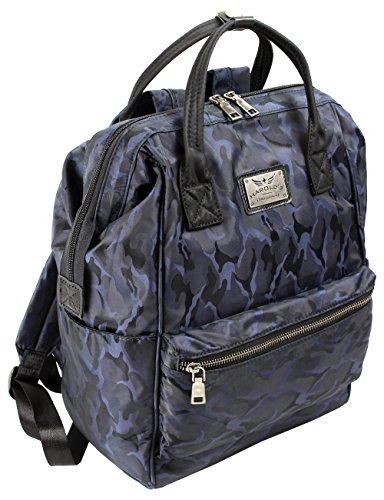 Nylon Rucksack Backpack - praktischer Schulrucksack in 3 Farben - Daypack für Arbeits Freizeit Büro Schule mit Laptopfach - mit extra Kofferschloss /2349/ (Navy)