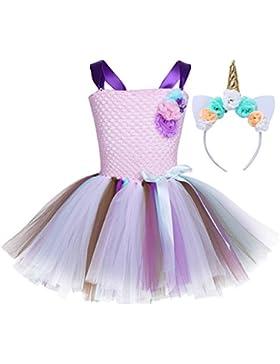 iEFiEL Vestido de Princesa Fiesta Cumpleaños para Niña Vestido Traje de Ceremonia Actuación con Diadema Cuerno...