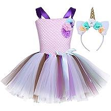 Freebily Vestido de Princesa Bautizo Cumpleaños para Niña Vestido Infantil Plisado Fiesta Multicolor Niña con Diadema de Cuerno de Unicornio