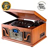 Nostalgie Holz Musikanlage | Kompaktanlage | Retro Stereoanlage | Plattenspieler | Radio | CD MP3 Player USB | Bluetooth | Fernbedienung | MP3 Encoding: Aufnahmefunktion AUX IN | RCA | CL612