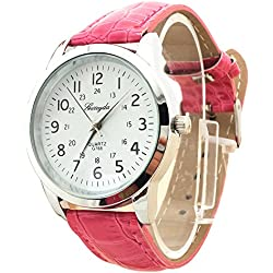 male Wrist Watch - Gerryda male Fashion digital Leather belt quartz Wrist Watch Rose red
