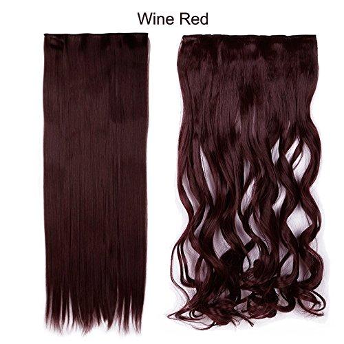 syalex (TM) 1pc Clip su capelli estensione 17Inch/43cm-27Inch/69cm, naturale, stile di capelli ricci sintetico clip in capelli estensioni wine red 27*69