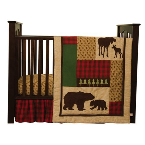 Cozy Cabin Nature Animals Nursery Crib Bedding Set with Moose & Bear with Quilt,Crib Skirt,Valance,Sheet,Storage Caddy, Gender Neutral for Baby Girl or Boy by Trend Labs (Crib Boy Sheet Set)