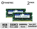 Timetec Hynix IC 8GB Kit (2x4GB) DDR3L 1600MHz PC3-12800 Unbuffered Non-ECC 1.35V CL11 2Rx8 Dual Rank 204 Pin SODIMM Laptop / Notizbuch Arbeitsspeicher Module Upgrade (8GB Kit (2x4GB))