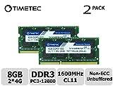 Timetec Hynix IC 8GB Kit (2x4GB) DDR3L 1600MHz PC3-12800 Unbuffered Non-ECC 1.35V CL11 2Rx8 Dual Rank 204 Pin SODIMM Ordinateur portable Mémoire RAM Module Upgrade (8GB Kit (2x4GB))