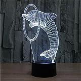 3D de la lámpara del delfín colorido del LED Light Touch 3D colorido gradiente lámpara se enciende extraña nueva perspectiva visual