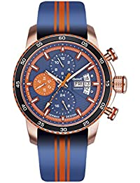 Ingersoll Bison No. 74automático para hombre reloj azul de color naranja/roségoldfarben in1717rg