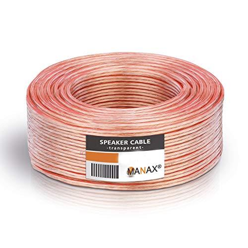 MANAX® Lautsprecherkabel weiß 2x1,5mm² 30m Ring, Transparent