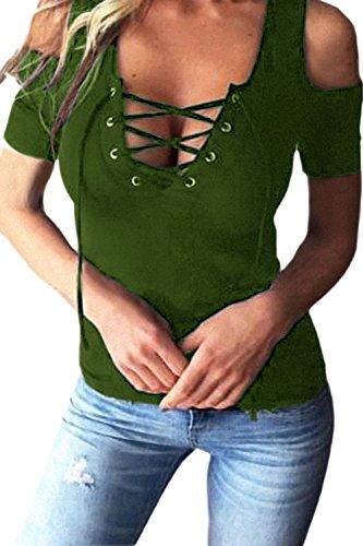 Le Donne Lo Scollo A V Collo Merletto Taglio Slim Camicette T - Shirt Taglia al Massimo Green