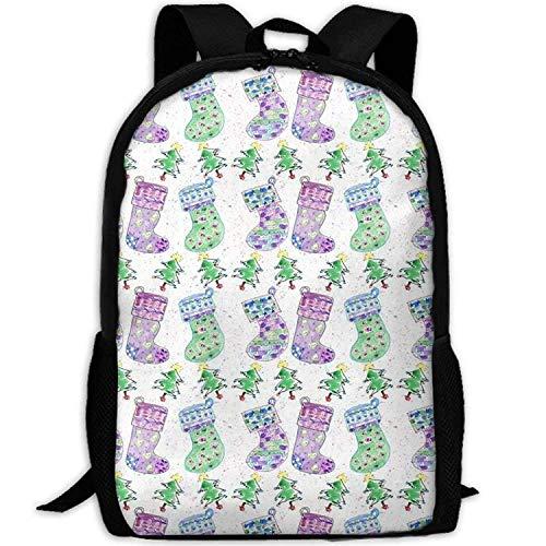 (Danae Home Christmas Stockings School Rucksack College Bookbag Unisex Travel Backpack Laptop Bag)