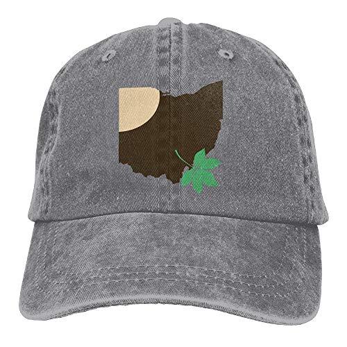RAINNY Ohio State Buckeye Leaf Snapback Casual Baseball Hat Denim Hat for Men and Women Ajustable (Buckeyes Hat Kids)