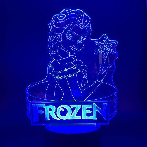 Illusionslicht, 3D-Acryl Disney Princess Frozen Umgebungslicht, Led-Farbverlauf