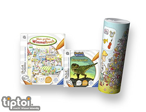 Ravensburger tiptoi ® Buch 4-7 | Mein großes Wimmelbuch + Pocket Wissen - Dinosaurier + Kinder Wimmel Such-Poster Elektronisches Wörterbuch Für Kinder