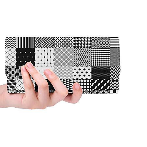 Einzigartige benutzerdefinierte schwarz weiße Patchwork Gesteppte geometrische Frauen Trifold Wallet Lange Geldbörse Kreditkarteninhaber Fall Handtasche -