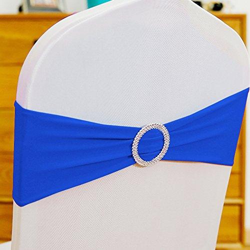 ONEVER 10PCS Spandex Stretch-Stuhl-Abdeckung Sch?RPE-Bogen-Hochzeit w/Buckle Slider Sch?RPEN Blau