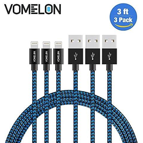 Câble Lightning, 3Pack 3FT Nylon Tressé Extra Long Tangle-Free Cable