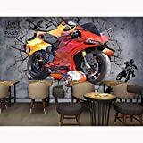 Tapisserie Photo 3D Papiers peints muraux 3D Stickers Muraux Fond d'écran de moto Photo Muraux Décorations pour la maison Bar Décor 3D Papier peint auto-adhésif en vinyle/soie-400X280CM