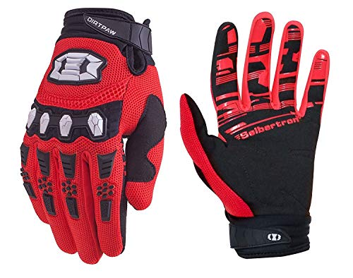 Seibertron Dirtpaw Unisex rutschfeste Bike Bicycle Cycling/Radsport Racing Mountainbike Handschuhe für BMX MX ATV MTB Motorcycle Motocross Motorbike Road Off-Road Race Touch Screen Gloves Red M -