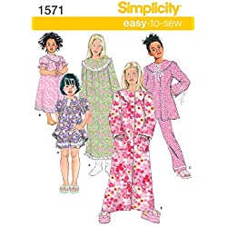 Simplicity Sewing Pattern 1571: Child's and Girl's Loungewear Separates, Size HH, Paper, White, (3-4-5-6)