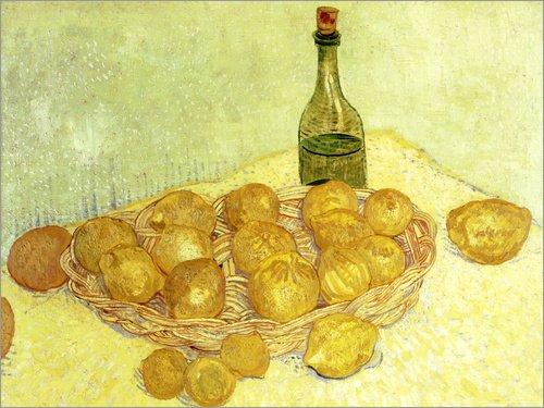 Kunstwerke Gogh Van Gerahmte (Leinwandbild 80 x 60 cm: Stilleben mit Flasche, Zitronen und Orangen von Vincent van Gogh / ARTOTHEK - fertiges Wandbild, Bild auf Keilrahmen, Fertigbild auf echter Leinwand, Leinwanddruck)