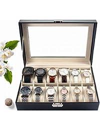 BONNIO Relojes de Gama Alta Caja de exhibición Caja de Almacenamiento de exhibición de joyería de Cuero sintético 3/6/12 Rejillas