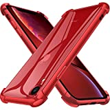"Joyguard Coque iPhone XR [2 × Verre trempé Protection écran],iPhone XR Coque Souple TPU Silicone [Shock-Absorption] AIR Cushion Protection Coin Housse iPhone XR- 6.1"" - Rouge"