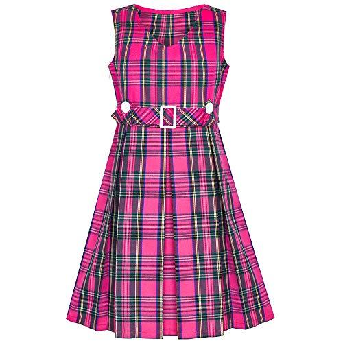 Mädchen Kleid Rosa Schottenkaro Taste Zurück Schule Gefaltet Saum Gr. 134 - Mädchen-taste