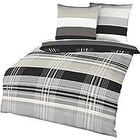 Kaeppel Prime Time - Ropa de cama de franela con diseño de rayas, en color plateado, antracita, arena, gris, blanco, franela, multicolor, 200x200cm Bettwäsche