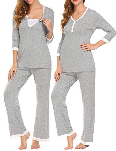 UNibelle Pigiama Due Pezzi Premaman Donna Pigiami Allattamento Scollo U Vestaglia Ragazza Manica Lunga con Pantaloni Grigio XL