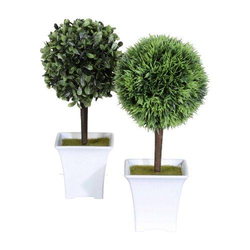 Mini-Box, 2 x Kunst- Kugelbaum ca 25cm. 1 x Buchs + 1 x Gras.
