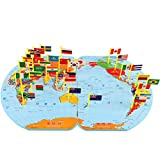 #7: Adichai Large Size World Map Flag Matching Puzzle Geography Educational Toy Gift for Kids (Large)