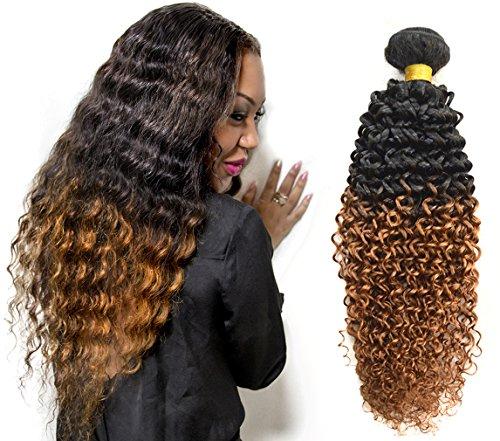 100% afro crépus extensions de cheveux bouclés, Remy cheveux humains tissage grade 7A 100g/pièce Couleur Ombre Lot de 1 (26 pouces/65cm, 1b/30)
