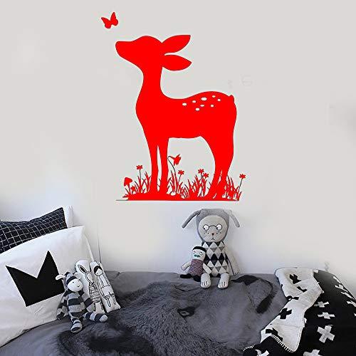 Reh Wandtattoo Kinder Schlafzimmer Vinyl Kinderzimmer Wandaufkleber Für Baby Zimmer Tier Abziehbilder Removable Home Decor Wallpaper rot 57x76 cm (Dunkles Holz Wallpaper)