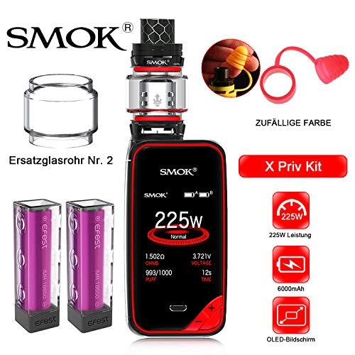 Elektronische Zigarette,Authentic Smok 225W X Priv Kit,Vapes Starter Kit mit Touchscreen und TPD-Tank,Ohne Nikotin, ohne Flüssigkeit(Schwarz Rot) (E-flüssigkeit Zigarette Elektronische)