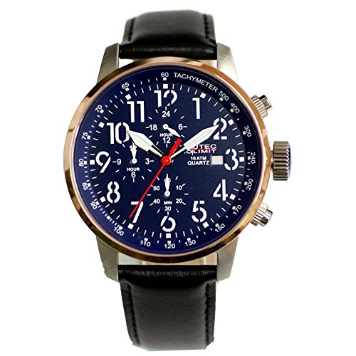 Nautec No Limit men's Quartz Watch Analogue Display and Leather Strap AIRTR-QZ-LTRG-BL