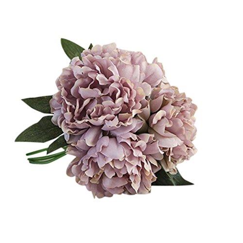 LUCKDE Unechte Blumen, Künstliche Haus Deko Blumen Gefälschte Blumen Seidenrosen Plastik Braut Hochzeitsblumenstrauß Blumen Künstlich Blumenkranz Haare Seidenblumen Frühling (Graue)