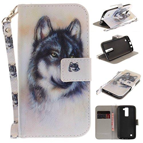 Guran® PU Leder Etui für LG K8 Smartphone Flip Deckung Stent Hülle und Wallet Case - Wolf