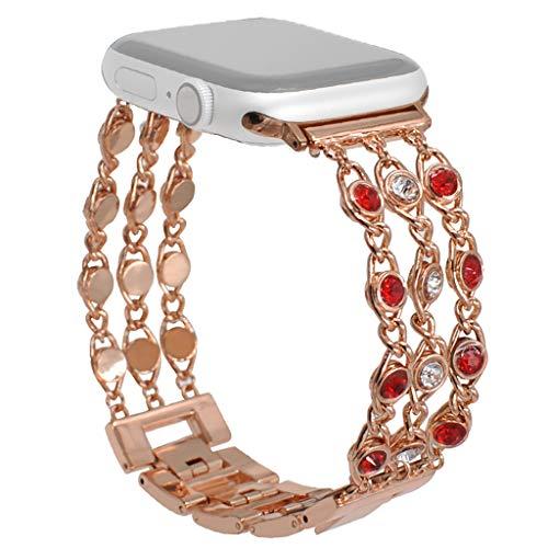 SYY Sport Watch Armband, Edelsteinkette Crystal Uhr Band Strap, kompatibel Apple Watch Armband, Sport Ersatz Armband für Apple Watch Serie Band 4321 42mm / 44mm (Gold 1)