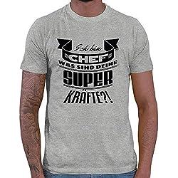HARIZ Herren T-Shirt was Sind Deine Superkräfte Chef Chef Arbeit Mitarbeiter Abschiedsgeschenk Plus Geschenkkarte Grau Meliert XXL