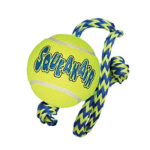 KONG-SqueakAir-Ball-with-Rope-Dog-Toy-Medium