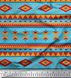 Soimoi Blau Poly Georgette Stoff geometrisch afrikanisch