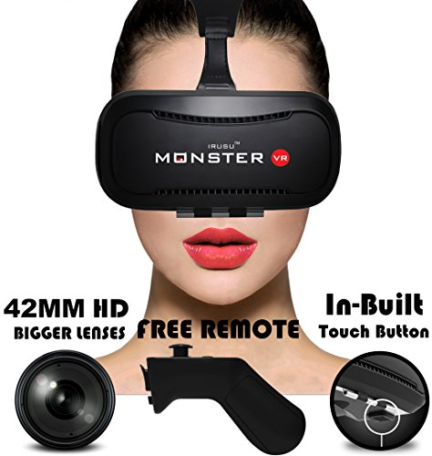 IRUSU MONSTER VR headset – with Bluetooth Remote .The best calibrated Virtual Reality headset with 42MM HD Resin lenses. VR glasses for leading mobile brands like Apple iphone 6 and plus, Samsung, Xiaomi,Lenovo,Oneplus,Moto, LG, nexus,Google Pixel,LeEco le2 and other mobiles that has gyroscope.