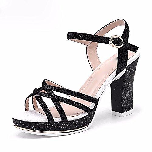 GTVERNH-4.5cm nero corrisponde tutto sexy quelle estive sandali una bocca di pesce delle scarpe aperte con spessore di white collar,35 Thirty-seven