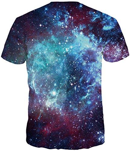 TDOLAH Herren Bunt Galaxy T-Shirt Sport Rundhals Spaß Motiv Tops Sternwolke